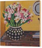 Flowers On The Desk Wood Print