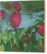 Flowers On Water Wood Print
