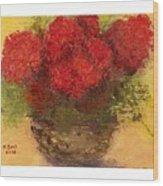 Flowers Red Wood Print