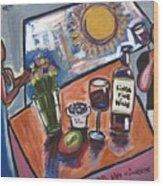 Flowers Wine N Sunshine Wood Print
