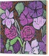 Flowers With Basket Weave Wood Print