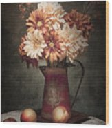 Flowers With Peaches Still Life Wood Print by Tom Mc Nemar