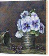 Flowers,pansies Still Life Wood Print