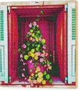 Flowery Window Wood Print