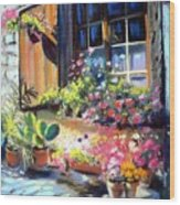 Flowery Window Of France Wood Print