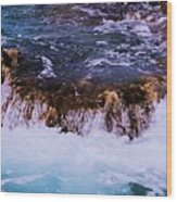 Flowing Over The Rocks Wood Print