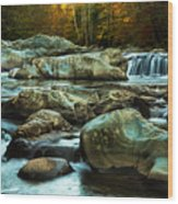 Flowing River On Greenbrier Cove Road Smoky Mountains National P Wood Print