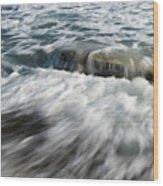Flowing Sea Waves Wood Print