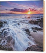 Flowing Sunset Wood Print