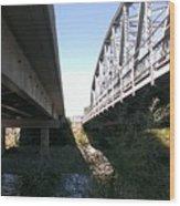 Flowing Under The Bridges Wood Print