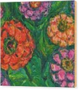Flowing Zinnias Wood Print