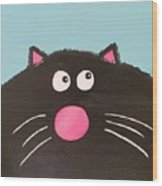 Fluffy Black Cat Wood Print