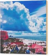 Fluffy Clouds Over Clearwater Beach Wood Print