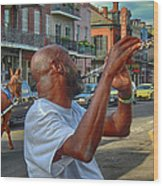 Flute Musician In New Orleans Wood Print