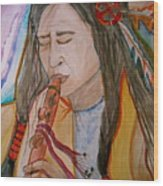 Flute Player Wood Print