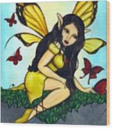 Fluttering Visitors Wood Print