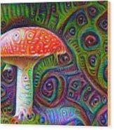 Fly Agaric Magic Mushroom Deep Dream Wood Print