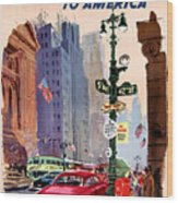 Fly Bcpa To America Vintage Poster Restored Wood Print