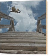 Fly By At The Beach - Brown Pelican And Rustic Stairs Wood Print