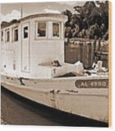 Fly Creek Work Boat Wood Print