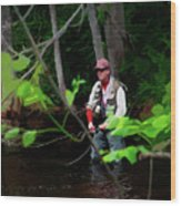 Fly Fisher Wood Print
