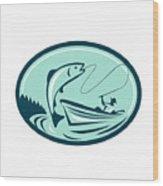 Fly Fisherman Boat Reeling Trout Retro Wood Print