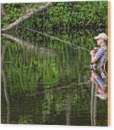 Fly Fisherman Wood Print