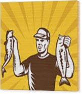 Fly Fisherman Holding Bass Fish Catch Wood Print