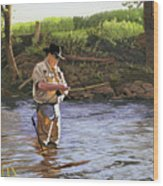 Fly Fisherman Wood Print by Kenneth Young