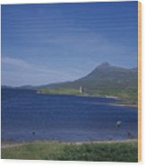 Fly Fishing  By Ardvreck Castle Loch Assynt Scotland Wood Print