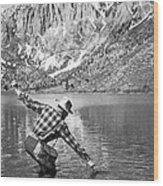 Fly Fishing In A Mountain Lake Wood Print