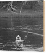 Fly Fishing In Black And White Wood Print