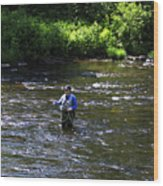 Fly Fishing In New York Wood Print