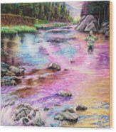 Fly Fishing In River At Sunrise Wood Print