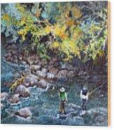 Fly Fishing Wood Print by Linda Shackelford