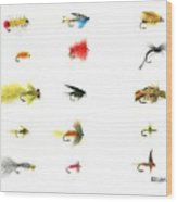 Fly Fishing Nymphs Wet And Dry Flies Wood Print