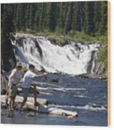 Fly Fishing The Lewis River Wood Print