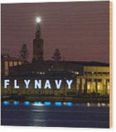 Fly Navy Wood Print