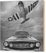 Fly Past - 1966 Mustang With P47 Thunderbolt In Black And White Wood Print