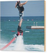 Flyboarder Falling Backwards Next To Swimming Platform Wood Print