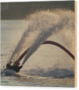 Flyboarder Only Showing Feet After Semi-circular Dive Wood Print
