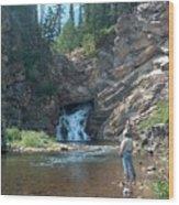Flyfishing At Trick Falls In Glacier National Park Wood Print