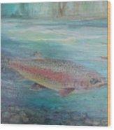 Flyfishing Wood Print