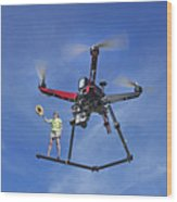Flying A Drone Wood Print