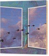 Flying Across Wood Print