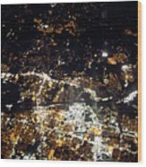 Flying At Night Over Cities Below Wood Print