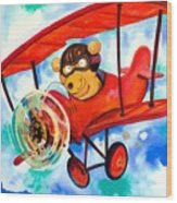 Flying Bear Wood Print