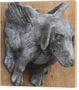 Flying Dog Gargoyle Wood Print by Katia Weyher