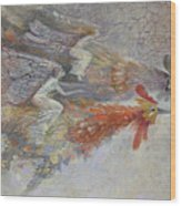 Flying Fairies. Monotype Wood Print