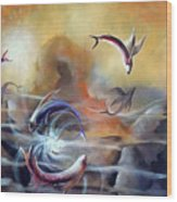 Flying Fishes Wood Print